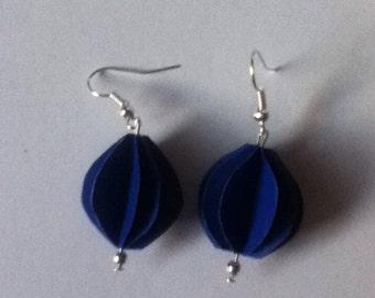 blue paper lantern earrings