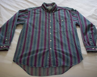 Vintage 90s Colorway MTO International striped button down long sleeve DENIM shirt