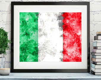Italy Flag Art, Italy Flag Print, Italy Flag Poster, Country Flags, Watercolor Painting, Italia Print, Poster, Wall Art, Italian Flag