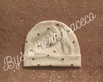 Gold Triangle Newborn Beanie/Hat/Infant Hat/