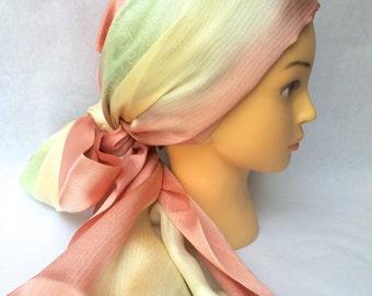 Japanese silk scarf - pink x pastel green x pastel yellow