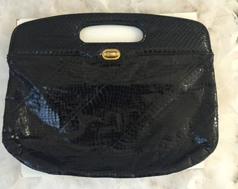 1980's Black Vintage Snakeskin Clutch Hand Bag