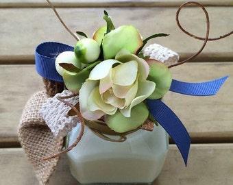 20 x Floral Lid Glass Jar Favours (White)