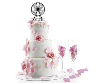 Wedding Cake Topper Personalized Ferris Wheel Silhouette Laser Cut LGBT Gay Lesbian Friendly