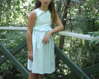 Mint and white birthday party/school dress