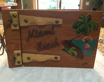 Funky 50's Miami Beach Pink flamingo wooden scrapbook- never used