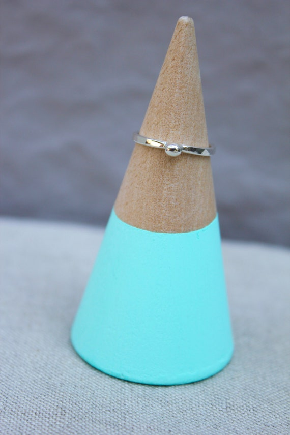 silver stacking ring with bead