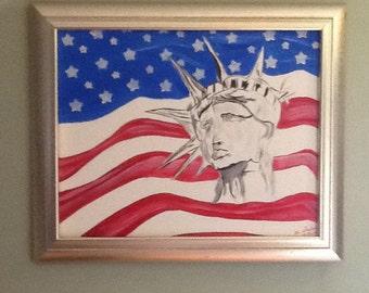 Wall art, USA,America painting, liberty, acrylic painting, original, art
