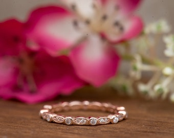 Art Deco Wedding Band, Eternity Band, Stackable Ring, Marquise & Dot Ring, Rose Gold Plated, Diamond Simulants, Sterling Silver