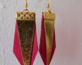 Leather pink earrings and gold