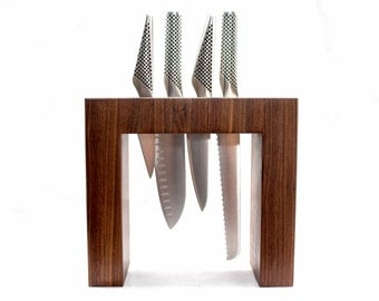 Contemporary Knife Block - Solid Wood Knife Block - Knife Holder - Knife Storage - Cutlery Block - Knife Rack