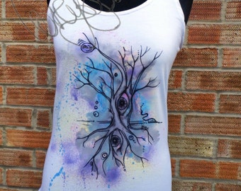 Unique hand painted tank top surreal tree eyes design