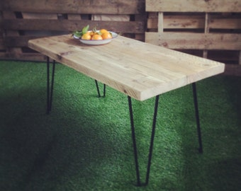 Industrial Handcrafted Reclaimed Wood Coffee Table Vintage Retro Black Hairpin Legs