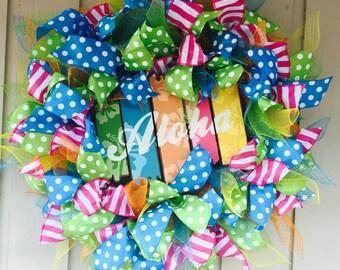 Summer Wreath, Aloha Wreath, Deco Mesh Wreath, Door Hanger, Whimsical Wreath, Front door wreaths, Made to Order