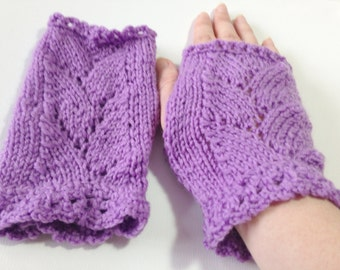 Hand Knitted Fingerless Gloves, purple, small-medium, ladies gloves, hand warmers