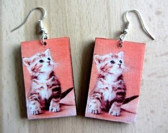 Decoupage Earrings - Cat