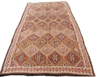 Rare Kilim Rug,Hand Made Wool Vintage Rug,Kilim,Carpet Rug ,Turkish Kilim Rug ,Diamond Kelim,Embroidered Rag Rug,Bohomian Carpet
