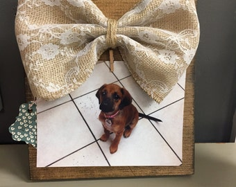 Wooden Picture Frame with lace bow