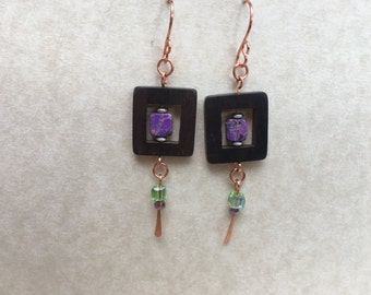 Green / purple / wood dangle earrings