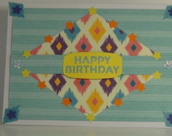 Hand Made multi-coloured Birthday Card