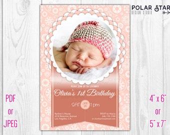 Floral Vignette & Paisley Ornament - Custom Birthday invitation, Photo Card - Printable Digital File (017)