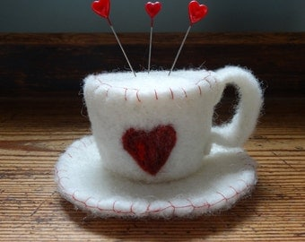 Tea Cup Pincushion -  Re Heart Pincushion - Alice In Wonderland - Dressmakers Gift