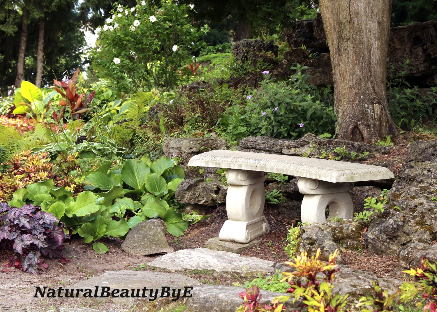 Garden bench nature photography stone bench by naturalbeautybye Stone garden bench