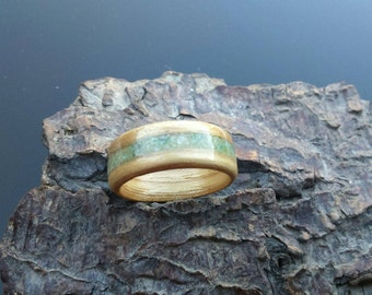 Jade and olive wood bentwood ring