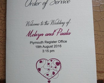 Order of service/Order of the Day booklet wedding/funeral