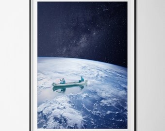 """Poster / poster - photo-collage surrealism - Photomontage - """"sail on Earth"""" - Earth, space, Canoe - earth, space, canoe"""
