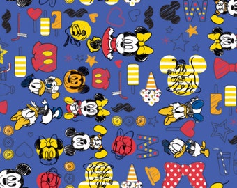 Disney Mickey. Minnie, Pluto, Daisy, and Donald Summer Fun in Blue Fabric From Camelot