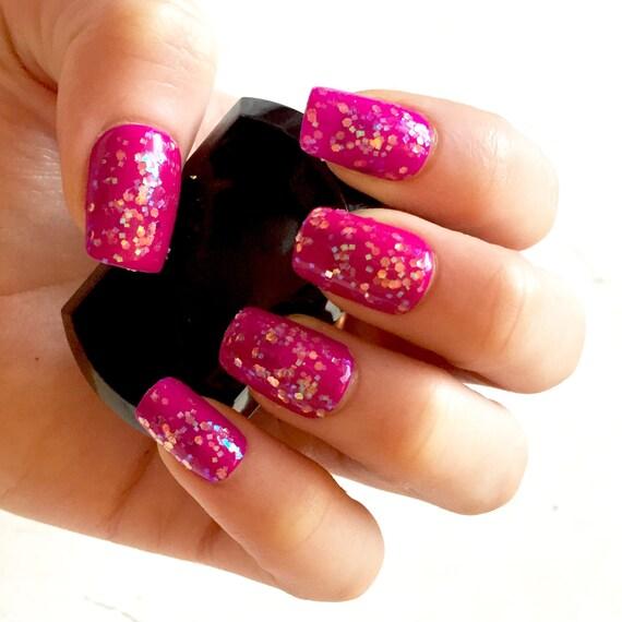 PrincessPurple Glittery Fake Nails Press-On Glue-On Gel