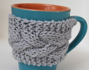 Gray mug cozy, one button