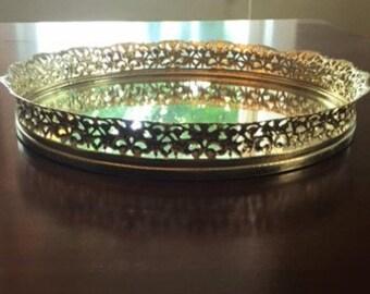 Vanity Tray (Gold, Mirrored)