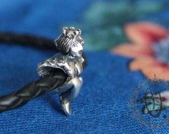 Alkonost (Russian folk women-bird) by Sashini beds design 925 sterling silver bead charm  fits european bracelet jewelry