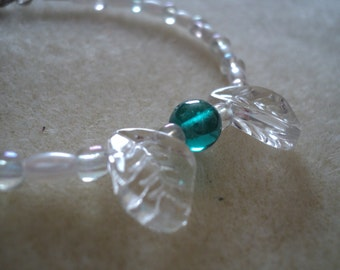 """Bracelet """"Falling Leaves"""" Clear Glass Leaf Beads, Clear Turquoise Bead, Pearl & Clear Beads"""