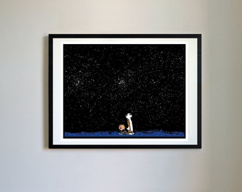 Calvin and Hobbes #98 - Starry Night, Space, Nursery Art Print, Decor, Poster, Picture, Childrens Art, Kids Room