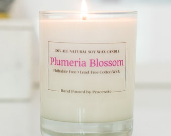 Plumeria Blossom / 14oz Scented Soy Candle / Hawaiian Plumeria Scent / Free of Toxins and Phthalates