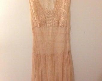 vintage peach colored long dress