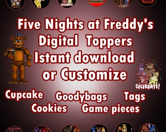 Five Nights at Freddy's Inspired Digital Cupcake Topper, Tag, Label, Sticker.