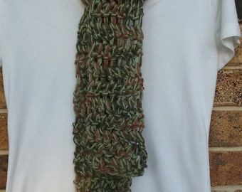 Green and Brown Hand Crocheted Scarf