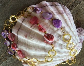 Pink & Purple Mother of Pearl Necklace