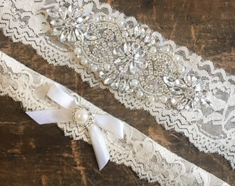 Wedding Garter Set Crystal and Pearl NO SLIP grip vintage rhinestones Ivory