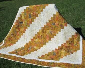 """Gold Log Cabin Quilt Fall Quilt Autumn Quilt Christmas Quilt Batik Quilt 90"""" x 90"""""""