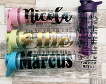 Personalised | Water Bottle | Intake Bottle | Wedding | School | Gym | Customized | Quote | Glitter| Any name