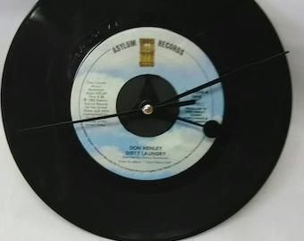 Don Henley 45 Record Clock - Dirty Laundry