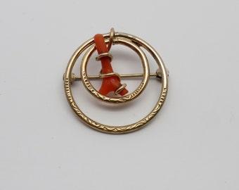 "Vintage Uncas 1"" Round Double Circle Branch Coral Pin"