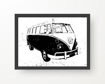 Vintage Volkswagen Van Black & White Ink illustration - Digital Print Poster - A4, A3