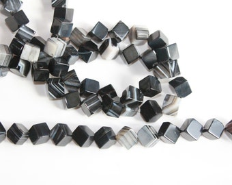 Natural black 10 mm Sardonyx ;  Cubes with Diagonal Drilling