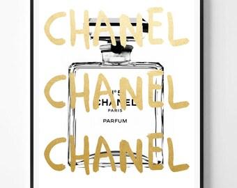 Chanel print, Fashion Print, Coco Chanel, Chanel perfume, Gold foil print, Fashion, Modern print, Typography Art, Minimalist, Scandinavian